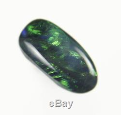 0.6ct MARVELOUS GREEN BLUE GENUINE LIGHTNING RIDGE SOLID BLACK OPAL GEM a212