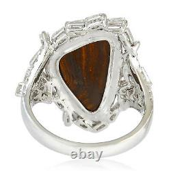 1.08Ct Pave Diamond 18K Solid Gold Doublet Opal Cocktail Ring Christmas Jewelry