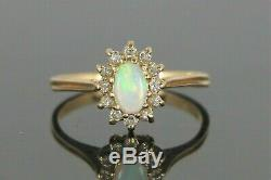 $1,250 14K Solid Yellow Gold Oval Fire Opal Round Diamond Cocktail Ring Size 6