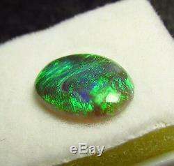 1.48ct Lightning Ridge Solid Natural Bright Blue Green Black Opal Oval Gemtone