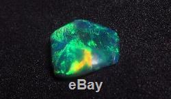 1.56ct Lightning Ridge Solid Natural Bright Blue Green Black Carved Opal Gem BN
