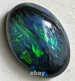 1.5ct Solid Black Opal GREEN & BLUE Oval Lightning Ridge