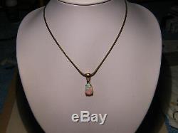 1.60 ct Australian Gem Opal & Diamond Pendant solid 18 k yellow gold