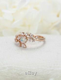 1 CT Brilliant Cut Opal 14k Solid Rose Gold Over Cluster Diamond Engagement Ring