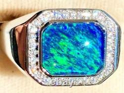 100% Natural Australian Black Navy Blue-green FIRE Opal Solid Men's ring 10 U