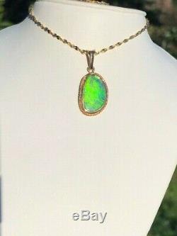 100% Natural BRIGHT Australian Opal Pendant ladies 14k solid gold Green 24