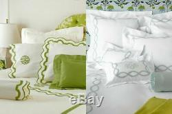 $1098 Matouk Mirasol Percale King Duvet Cover Opal Green Scallop Embroidery New