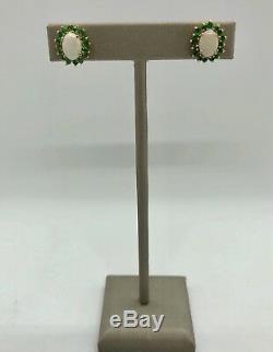 10k Solid Yellow Gold Opal Emerald Stud Earrings