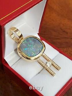 11.83 Carat Solid Black Opal Lightning Ridge Red Blue Green Diamond 14K Necklace
