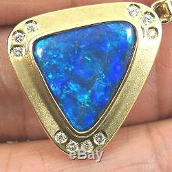 14.8ct. Purple Blue Green Solid Opal+ Diamonds & 18K Solid Gold Pendant Necklace