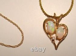 14K Solid Gold Opal Heart Necklace Pendant & Two 14K Solid Gold Dainty Necklaces