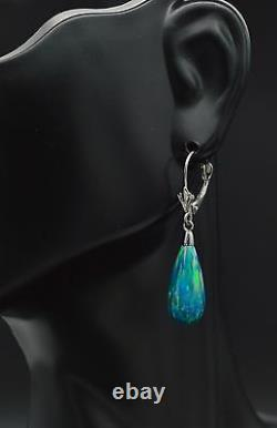 14K Solid White Gold Tear Drop Blue Green Fire Opal Lever back Dangle Earrings