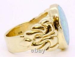 14K Solid Yellow Gold Large Bezel Set Blue Green Opal Cocktail Ring Size 8.5