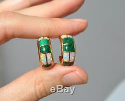 14k Solid Gold Green Malachite & Lab Opal Earrings Half Hoops Over 1/2 Long