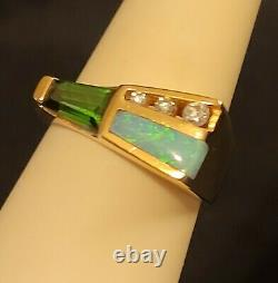 14k Solid Gold Kabana Glowing Green Tourmaline Inlaid Opal Diamond Ring KBN 6.2g