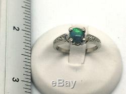 14k Solid White Gold Opal & Diamond Ring