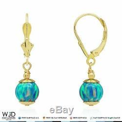 14k Solid Yellow Gold Green Fire Opal Ball Dangle Drop Leverback Earrings 7mm