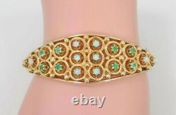 14k Solid Yellow Gold Opal & Emerald Bangle Bracelet 28.1 Grams Appraisal