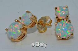 14k Solid Yellow Gold Over 1 CT Double Round Cut Fire Opal Wedding Stud Earrings