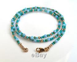 14k solid rose gold turquoise opal beads gemstone bracelet wrap blue green gem