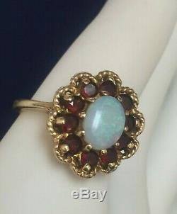 14kt Solid Gold Genuine Vintage Opal & Garnet Gemstone Ring, Size 6.25