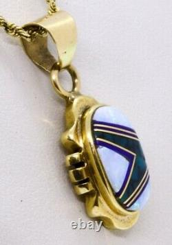 16 14K Solid Yellow Gold Opal, Green Turquoise & Lapis Inlay Necklace Pendant