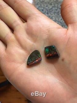18 Carat Pair of Solid Natural Australian Green/Red Boulder Opals