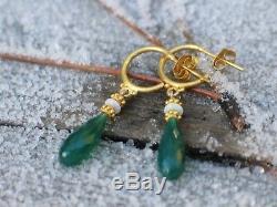 18K & 14K Solid Gold Green Onyx Briolette & Opal Drop / Dangle Hoop Earrings