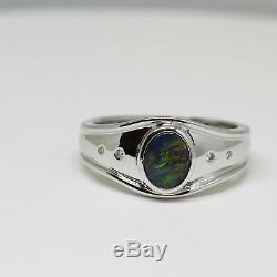 18ct 18k White Gold Solid Natural Black Opal Ring Bezel Size O (us 7 1/4)