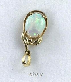 18k Solid Australian Opal Pendant 750 yellow gold claw setting