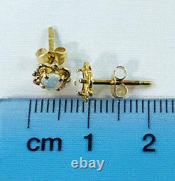18k Solid Australian Opal Stud Earrings 750 yellow gold claw setting