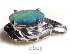 18k Solid Black Opal Pendant 750 white gold Australian Opal claw setting