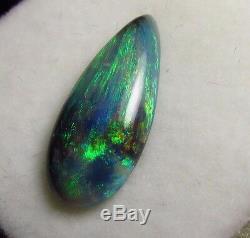 2.70ct Lightning Ridge Solid Natural Bright Blue Green Black Opal Pear Gemtone