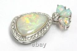 2.78 ct tw Natural Opal & Diamond Solid 14k White Gold Drop Halo Pendant 1.2 In