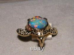 3 ct. Green Sea turtle Opal Pendant 5.8 grams Solid 14 k yellow Gold