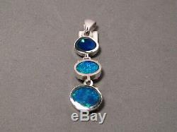 3 stone Bright Solid Australian GEM AAA Opal Pendant Sterling Silver