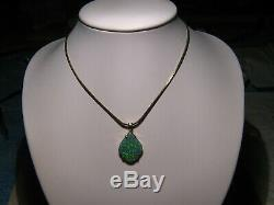4.25 ct. Australian Black Opal Pendant solid 14 kt yellow gold Very Sparkly