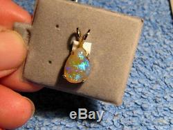4.5 ctw. Australian Blue Opal Pendant solid 14 kt yellow gold