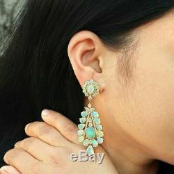 4 CT Multi Cut Fire Opal 14k Solid Yellow Gold Over Wedding Drop Dangle Earrings