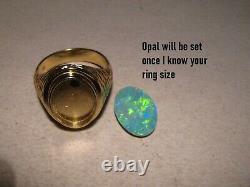 4 ct. Large opal Men's Ring Solid 14 k Gold 13.1 grams 14 k
