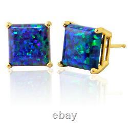 4mm 5mm 6mm 7mm 14K SOLID YELLOW GOLD PRINCESS CUT GREEN BLUE OPAL STUD EARRINGS