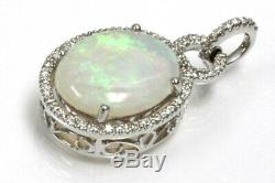 5.2 ct tw Natural Opal & Diamond Solid 14k White Gold Drop Halo Pendant 1.3 In