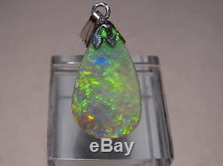 5.5 ct. Lime Green Solid Australian semi Black Opal Pendant Sterling Silver