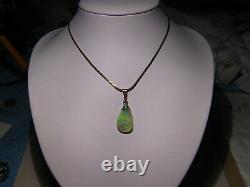5.5 ct Lime Green Solid Australian semi Black Opal Pendant Sterling Silver