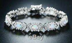 5 CT Oval Cut Opal 14k Solid White Gold Over Diamond Flower Halo Tennis Bracelet