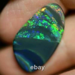 6.80 cts Australian Black Opal Solid Loose Cut stone, Lightning Ridge