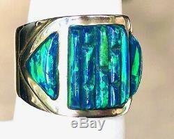 6 Wide BRILLIANT BLACK Green Cornrow FIRE OPAL Ring Sterling Silver $325