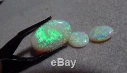 7.01ctw Solid Natural Bright Blue Green 3 Australian Opal Gemstones BN FREE SHIP