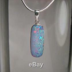 7.7ct Genuine Australian Natural Opal Pendant Inlay Solid Silver Gem Gift #A10
