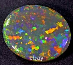 7.80 Carat Semi Black Dark Opal Lightning Ridge N5 SOLID OPAL RED BLUE GREEN YEL